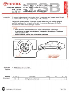 TSB Wheel Film for Brake Rotor Rust Prevention