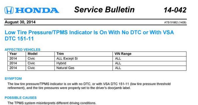 TPMS service bulletins