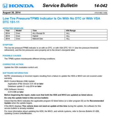 Honda TPMS TSB