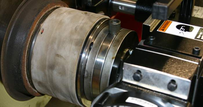 on the car brake lathe
