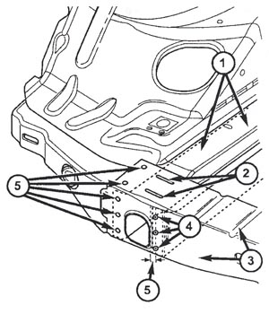 tech tip squeak like sound from front bumper crossmember on jeep 2004 Jeep Liberty 4x4 1 right side frame rail 2 weld lines already present 3 front bumper crossmember 4 mark line as specified cl panels center punch